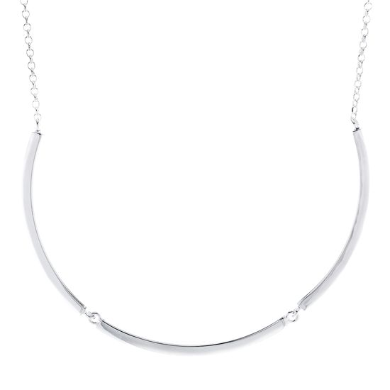 Imagen de E-Coat Sterling Silver 3 Polished Bar Stations 18 Rolo Chain Necklace