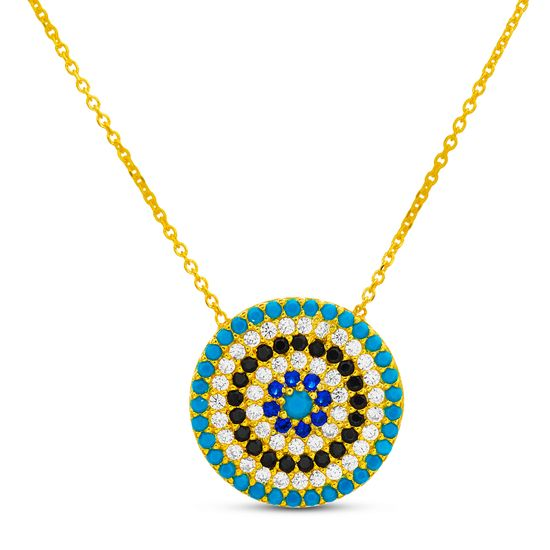 Imagen de Sterling Silver Cubic Zirconia Blue and Black Pave Circle Disc Necklace