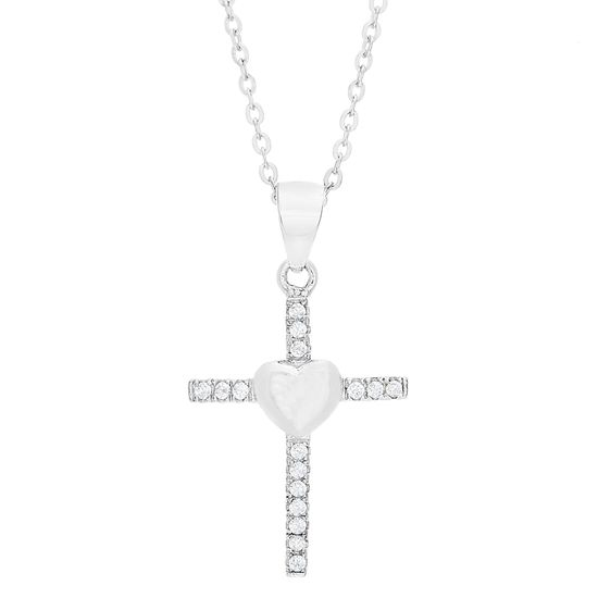 Imagen de Sterling Silver Cubic Zirconia Pave Cross with Center Polished Heart Cable Chain Necklace