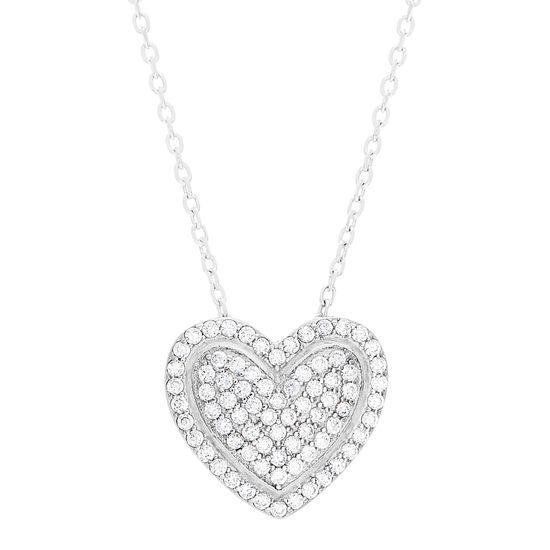 Imagen de Sterling Silver Cubic Zirconia Heart Shaped Necklace