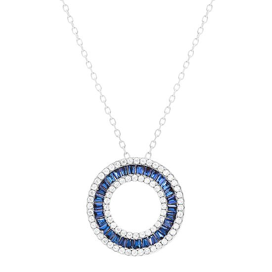 Imagen de Sterling Silver Blue Baguette Cubic Zirconia Open Circle Necklace