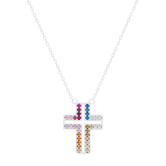 Imagen de STERLING SILVER RHODIUM MULTI COLOR RED/BLUE/CLEAR/OLIVE/PEACH/ORANGE/PINK/FUCHSIA CZ CROSS 16+2 CABLE CHAIN NECKLACE