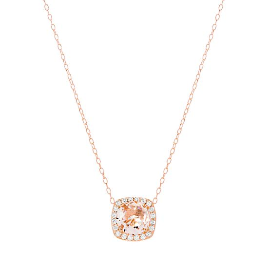 Imagen de Sterling Silver Simulated Morganite/Clear Cubic Zirconia Square Pendant 18 Cable Chain Necklace