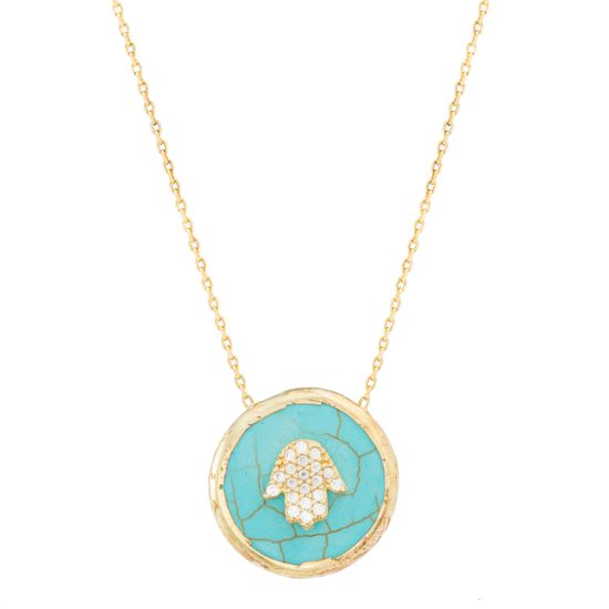 Imagen de STERLING SILVER GOLD CZ HAMSA ON ROUND TURQUOISE 16 D/C CABLE CHAIN NECKLACE