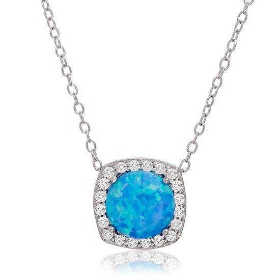 Imagen de Sterling Silver Round Blue Opal Cubic Zirconia Border Square Pendant Cable Chain Necklace