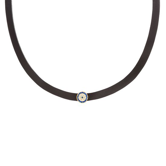 Imagen de Sterling Silver Black Leather Band with Small Blue and Clear Pave Evil Eye Disc Choker Necklace