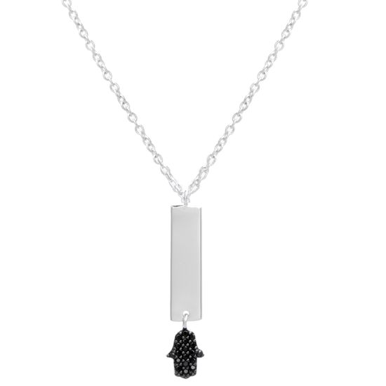 Imagen de Two Tone Sterling Silver Black Cubic Zirconia Bar/Hamsa Cable Chain Necklace