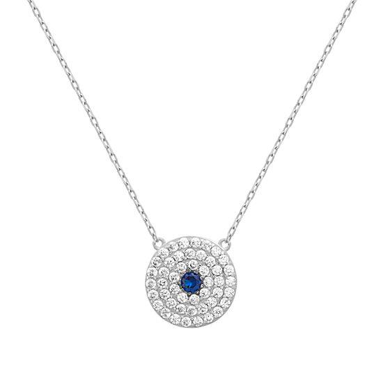 Imagen de Sterling Silver Clear/Blue Cubic Zirconia Station Evil Eye Pendant 16+2 Cable Chain Necklace