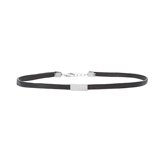 Imagen de Sterling Silver Cubic Zirconia Bar Black Leather Choker Necklace