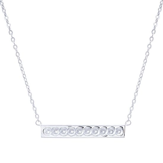 Imagen de STERLING SILVER RHODIUM 10 EMPTY BIRTHSTONE STATION ON 16+2 CABLE CHAIN NECKLACE