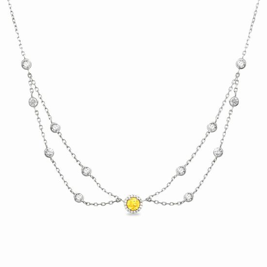 Imagen de Sterling Silver Cubic Zirconia Yellow/ Clear Round Disc Halo W/ Double Stranded Station Bezel Choker Necklace