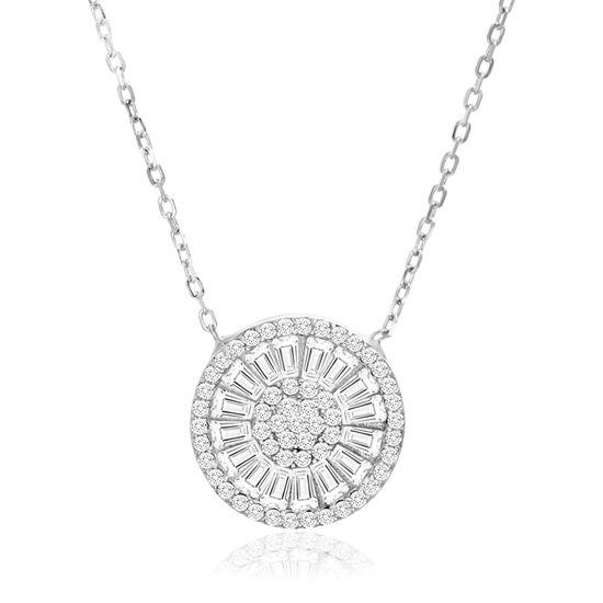 Imagen de Sterling Silver Baguette Cubic Zirconia Round Cable Chain Necklace