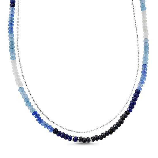 Picture of Sterling Silver Ombre Dark Blue/Blue/Light Blue/Clear Cubic Zirconia 12+4 Double Layer Beaded/Cable Chain Choker Necklace
