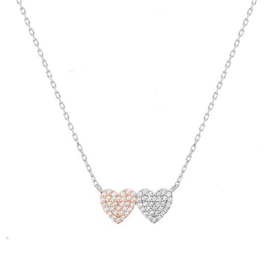 Imagen de Two-Tone Sterling Silver Cubic Zirconia Station Double Hearts Pendant Cable Chain Necklace