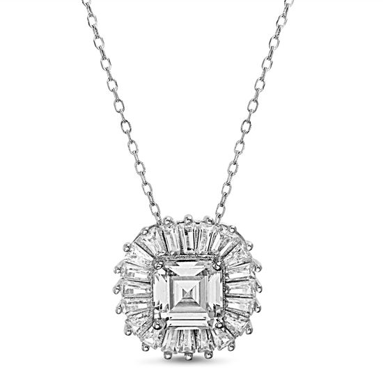 Imagen de Sterling Silver Cubic Zirconia Princess Cut/ Baguette Square Shaped Pendant Cable Chain Necklace