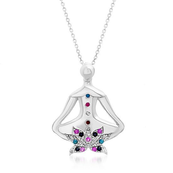 Imagen de Sterling Silver Multi Colored Cubic Zirconia Lady& Lotus Pendant Cable Chain Necklace