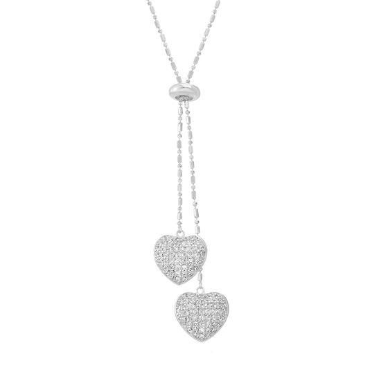 Imagen de Sterling Silver Cubic Zirconia Heart Pendants Ball Chain Slider Necklace