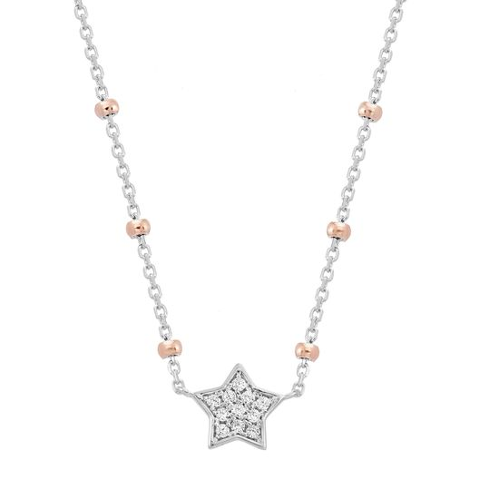Imagen de Two Tone Sterling Silver Cubic Zirconia Station Star Beaded Cable Chain Necklace