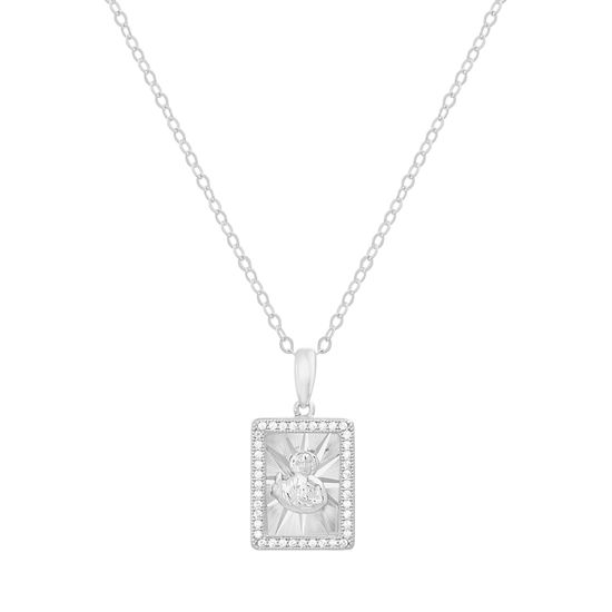 Imagen de Sterling Silver Cubic Zirconia Rectangular Religious Pendant Cable Chain Necklace