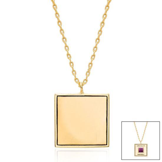Imagen de Gold-Tone Brass Square Old Testament Nano My Bible Cable Chain Necklace