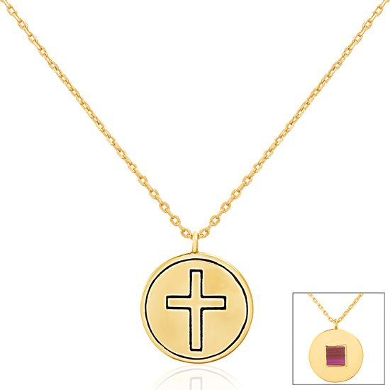 Imagen de Gold-Tone Brass Cross Circle Cable Chain New Testament My Nano Bible Necklace