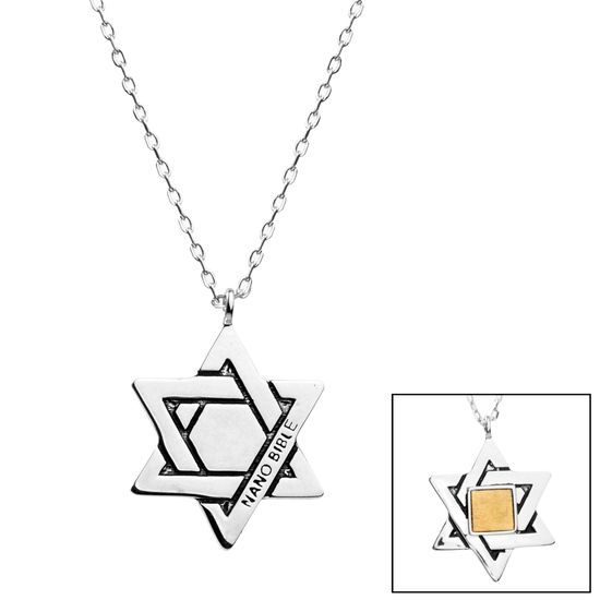 Imagen de Two-Tone Brass Star of David Bar Old Testament Nano My Bible Cable Chain Necklace