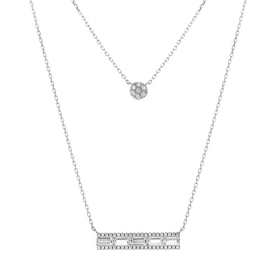 Imagen de Sterling Silver Cubic Zirconia 2 Layer Station Band And Circle Cable Chain Necklace