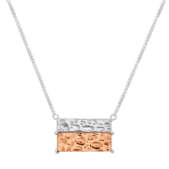 Imagen de Two-Tone Sterling Silver Hammered Rectangle Bar 18 Cable Chain Necklace