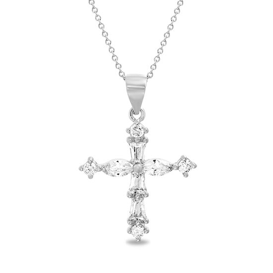 Picture of Sterling Silver CZ Cross Pendant Cable Chain Necklace