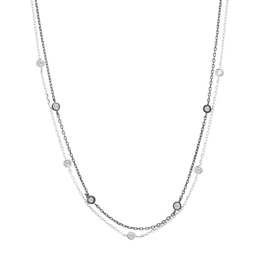 Picture of Two-Tone Sterling Silver Bezel Cubic Zirconia Stations Double Layered 14 Cable Chain Necklace