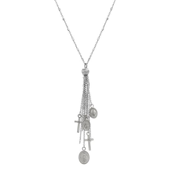 Imagen de Sterling Silver Tassel Dangling Cross Oval Religious Charms Cable Chain Necklace