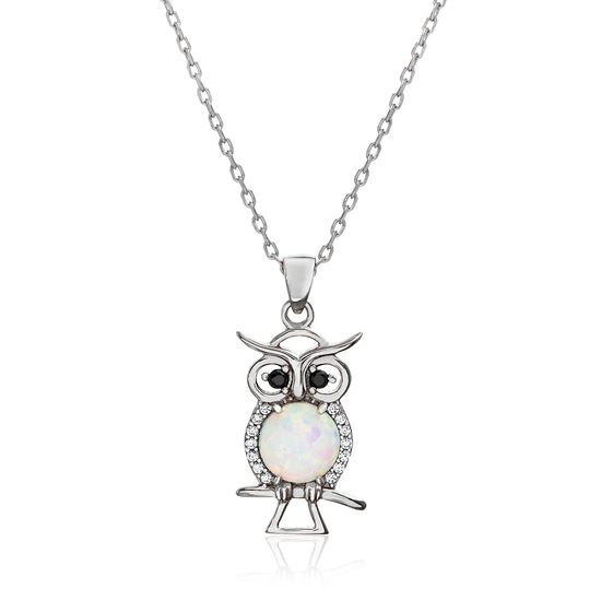 Picture of Sterling Silver White Opal Black/Clear Cubic Zirconia Owl Cable Chain Necklace