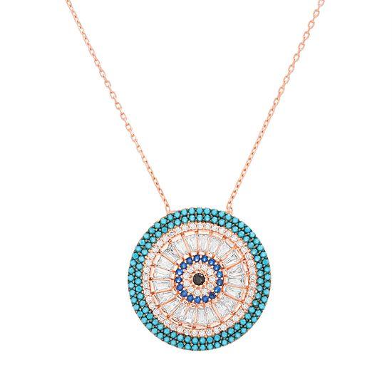 Imagen de Sterling Silver Multi-Color Cubic Zirconia Evil Eye Pendant 18 Cable Chain Necklace