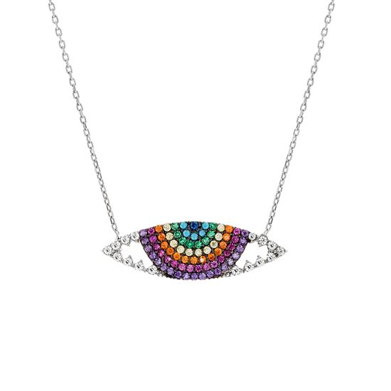 Imagen de Sterling Silver Multi-Color Marquise Pendant 18 Cable Chain Necklace