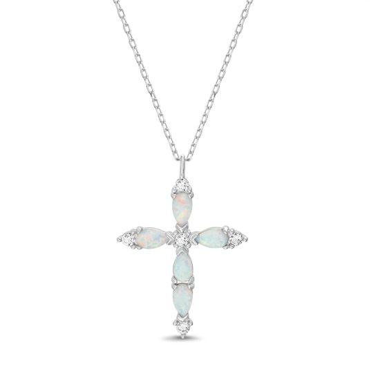 Imagen de Sterling Silver CZ & White Opal Cross Pendant Cable Chain Necklace