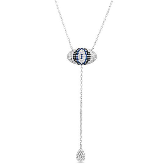 Imagen de Sterling Siler Multi Color Cubic Zirconia Oval Evil Eye Pendant Dangling Teardrop Charm 18 Y-Shaped Cable Chain Necklace