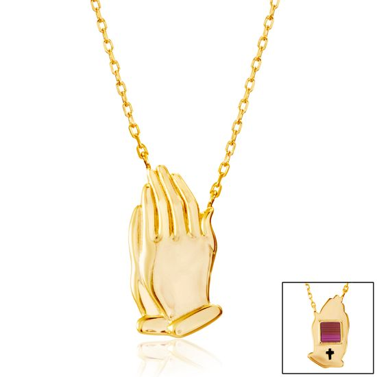 Imagen de Gold-Tone Brass Praying Hands Cable Chain New Testament My Nano Bible Necklace