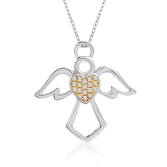 Imagen de Two-Tone Brass Cubic Zirconia Angel Cable Chain New Testament My Nano Bible Necklace