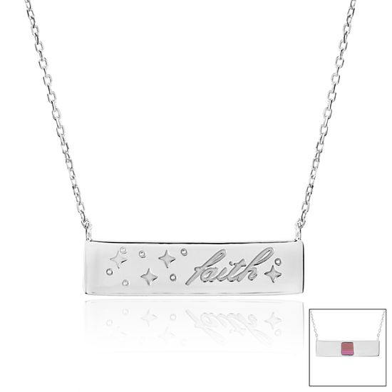 Picture of Silver-Tone Brass faith ID Bar Old Testament Nano My Bible Cable Chain Necklace