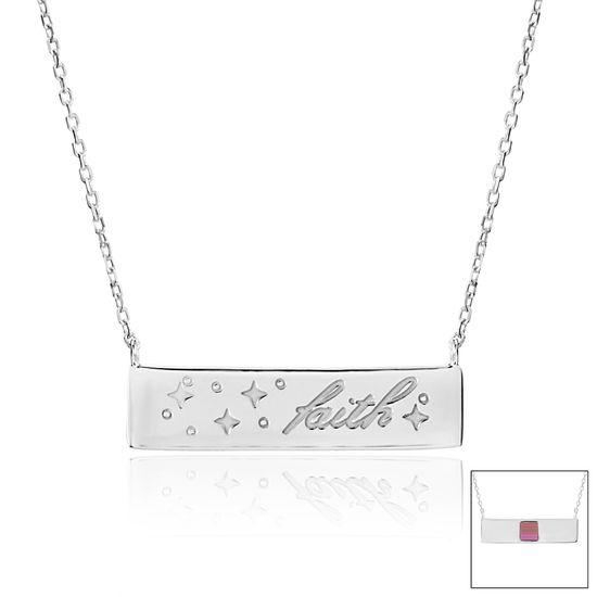 Imagen de Silver-Tone Brass faith ID Bar Old Testament Nano My Bible Cable Chain Necklace