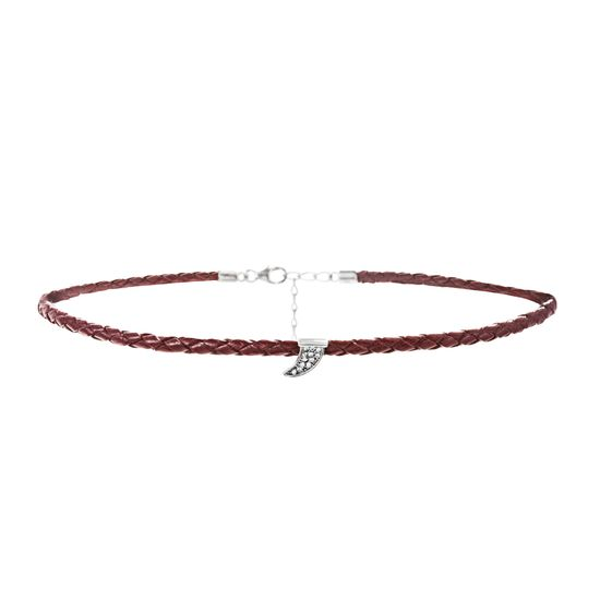 Imagen de Sterling Silver Cubic Zirconia Horn Charm 12+4 Red Braided Leather Choker