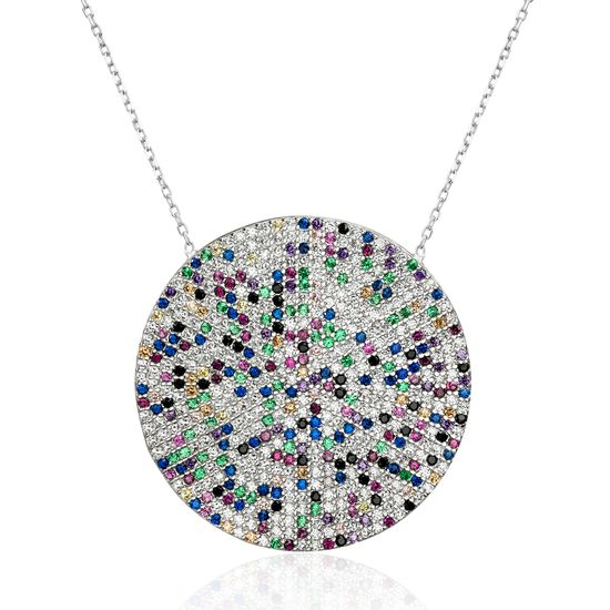 Imagen de Sterling Silver Multi Colored Cubic Zirconia Pave Round Station Disc Necklace
