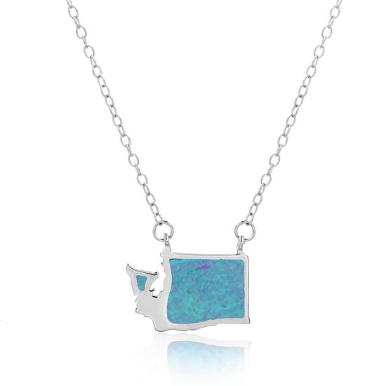 Imagen de Blue Opal Washington State Outline Pendant on Cable Chain Necklace in Sterling Silver