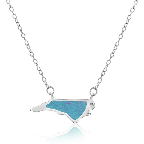 Imagen de Blue Opal North Carolina Outline Pendant on Cable Chain Necklace in Sterling Silver