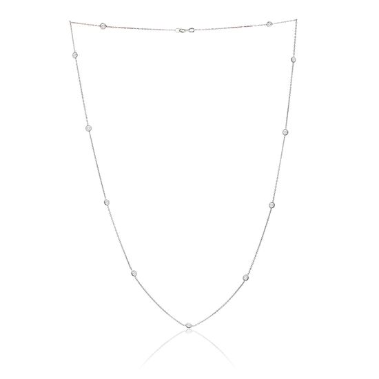 Imagen de Sterling Silver 16 Cubic Zirconia By The Yard Cable Chain Necklace