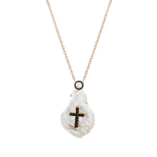 Imagen de Sterling Silver Black Cubic Zirconia Cross Mother of Pearl Geo Shaped Pendant Cable Chain Necklace