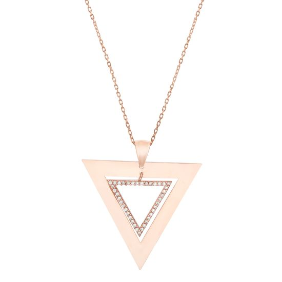 Imagen de Rose Gold Plated Sterling Silver Cubic Zirconia Triangle Pendant Cable Chain Necklace
