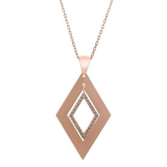 Imagen de Rose Gold Plated Sterling Silver Cubic Zirconia Diamond Shaped Pendant Cable Chain Necklace