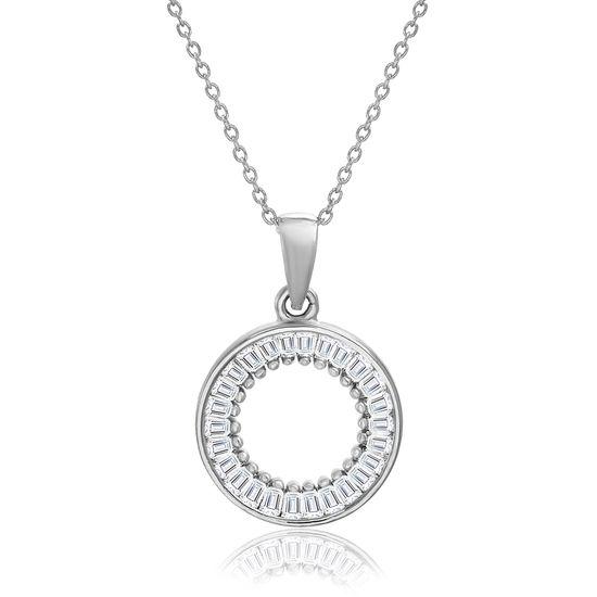 Imagen de Baguette Cubic Zirconia Open Circle Pendant in Sterling Silver