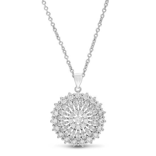 Imagen de Sterling Silver Cubic Zirconia Marquise Cut Cubic Zirconia Floral Design Cable Chain Necklace
